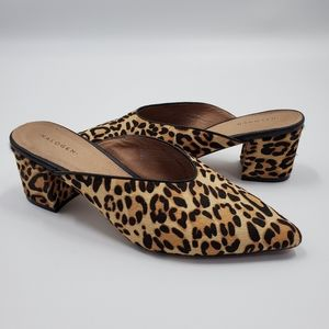 Halogen Leopard Print Calf Hair Mules Pointed Toe
